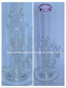 Pink Glass Smoking Water Pipes with Double Tire Percolator/Smoking Bubbler pictures & photos
