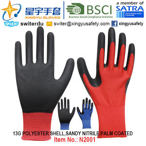 13G Polyester Shell Sandy Nitrile Palm Coated Gloves (N2001) with CE, En388, En420, Work Gloves pictures & photos