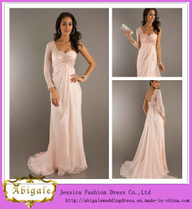 New Elegant Chiffon Peach A-Line One-Shoulder Beaded Long Sleeve Evening Dress Yj0044 pictures & photos