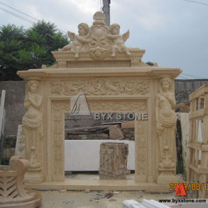 Beige Marble Fireplace Mantel for House Decoration pictures & photos
