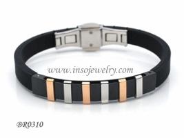 Fashion Stainless Steel Men Rubber Bracelet (BR0310)