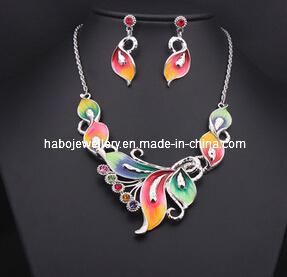 Glory Butterfly Enamel with Diamond Jewelry Set (XJW13206) pictures & photos