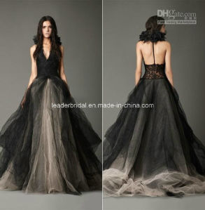V-Neck Ball Gowns Backless Black New Organza Wedding Dresses Z8033 pictures & photos
