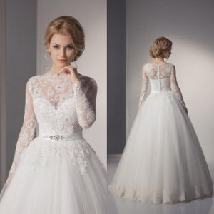 Illision Sleeves Bridal Ball Gown Vestidos Lace Tulle Wedding Dress L15343 pictures & photos