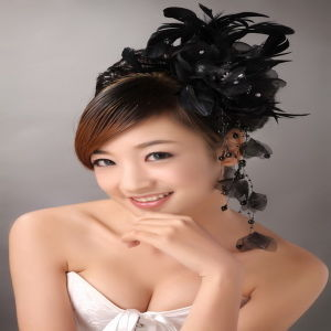 2012 Top Design Black Feather Beading Daisy Flower Heads (TH-117)