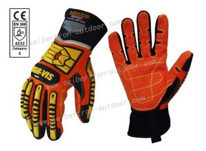 Ce 4232 Water and Oil Resistant High-Vis Sdx2 Impact Protection Oil and Gas Safety Gloves PVC Dots Anti-Slip Gloves