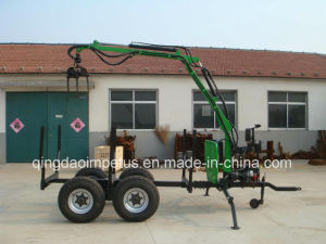 6ton Tractor Log Trailer with Crane Hot Selling in Europe pictures & photos