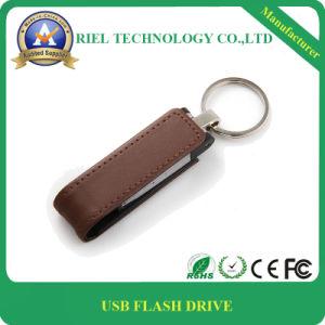 Premium Black/Brown Leather W/Iron Man USB Flash Drive