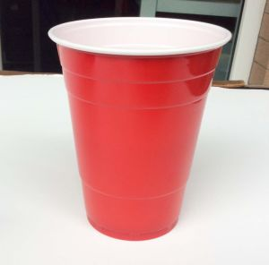 PS Disposable Plastic 2 Colors Cup (inner white outer red) pictures & photos