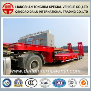 3-Axle Red Gooseneck Lowbed/Lowboy Semi Trailer