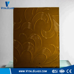 3-6mm Amber Mayflower/Nashiji Patterned Glass with Ce&ISO9001 pictures & photos