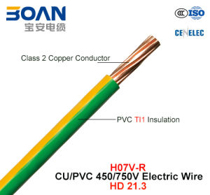 H07V-R, Electric Wire, 450/750 V, Cu/PVC Insulated Cable (HD 21.3) pictures & photos