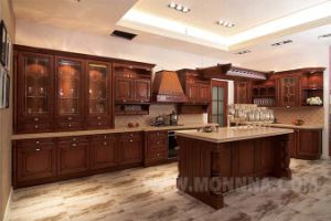 Walnut Solid Wood Kitchen Cabinet/ Solid Wood Kitchen Cabinet Factory/ Hot Sale Kitchen Furniture