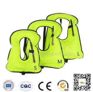 Unisex Portable Inflatable Canvas Life Jacket Snorkel Vest