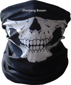 Customized Design Skull Printed Black Sports Multifunctional Buff Headwear pictures & photos
