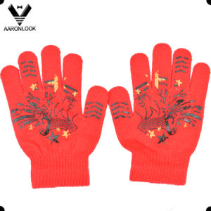 Custom Design Rubber Print Pattern and Knitted Magic Glove for Wholesale pictures & photos