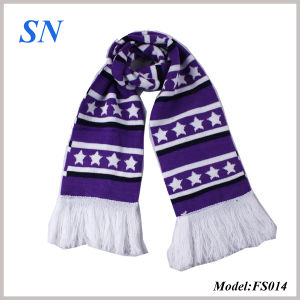2014 Worldcup Striped Jacquard Knit Skinny Bar Scarf (FS014) pictures & photos