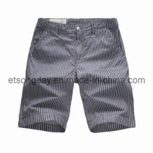 Wholesale Gray 100% Cotton Men′s Vertical Stripe Shorts (YZ34983) pictures & photos