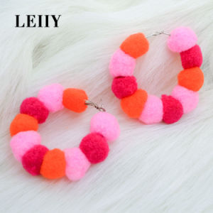 Leiiy Candy Color POM Poms Ball Fashion Jewelry Hoop Earring pictures & photos