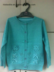 Children Girls Cardigan - True Knitted with Pointelle Knitted pictures & photos