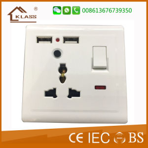 2g UK 13A Wall Switch Socket with Dual USB Outlet pictures & photos