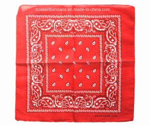 China Factory Produce Custom Logo Two Sides Printed Black Cotton Paisley Bandana pictures & photos