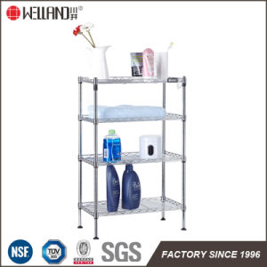 Chrome DIY 4 Tiers Metal Bathroom Shampoo Storage Corner Wire Rack pictures & photos