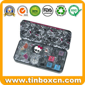 Metal Gift Tin Box with Hinge for Cosmetics Makeup Set pictures & photos
