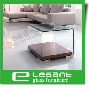 Curved Glass Tea Table with Walnut Wood Veneer pictures & photos