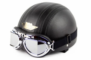 Motorcycle Helmet for Harley Bike Bicycle with Goggles Leather pictures & photos