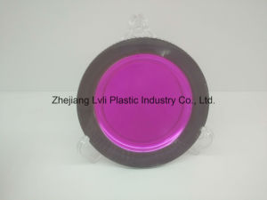 Plastic Plate, Disposable, Tableware, Tray, Dish, Colorful, PS, Transparent, Silver Rim Plate, PA-04 pictures & photos