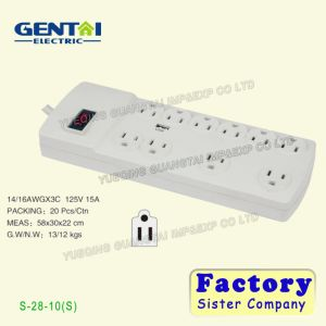 Good Quality 15A/125V USA Power Strip Extension Socket with Switch pictures & photos