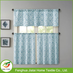 100% Polyester High Quality Blue Vintage Kitchen Curtains for The Kitchen pictures & photos
