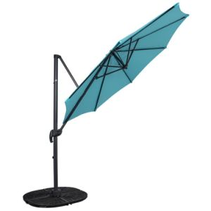 Outdoor 10FT Hanging Roma Offset Umbrella Outdoor Patio Sun Shade Cantilever Crank Canopy (Light Blue)