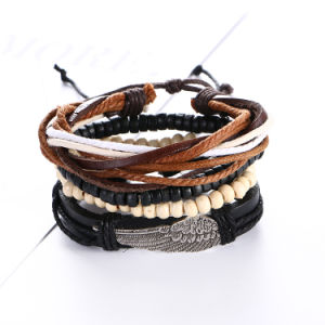 Fashion Feather Beads Braided Men Faux Leather Bracelet Jewelry pictures & photos