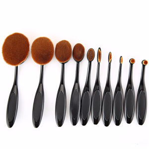 Best Selling Black Oval Makeup Brush Set 10 with Box pictures & photos
