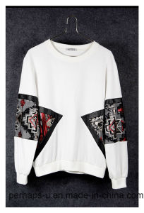High Quality White Round Neck Stitching Sequins Women Cotton Shirt pictures & photos
