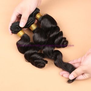 3/4 Bundles Malaysian Virgin Hair Weft Loose Wave with Silk Base Closure Wavy Hair Extensions with Silk Base Closure pictures & photos