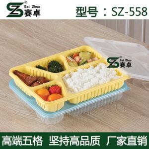 Thermoforming 5 Compartment Microwave Safe Take Away Lunch Storage Box pictures & photos