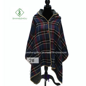 Double Side Plaid Shawl Maple Leaf Button Cloak with Hat pictures & photos