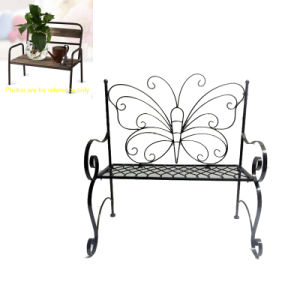Functional Metal Linellae Butterfly Bench Double Flowerpot Stand Craft pictures & photos