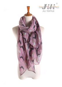 Latest Design New Fashion Voile Animal Dog Printed Long Winter Scarf for Lady pictures & photos