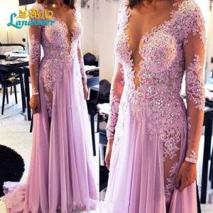 Lavender Lace Prom Party Gowns Lace Chiffon Evening Dresses Z5082 pictures & photos