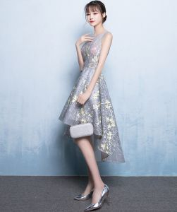 2017 New Fashion Elegant Short Before The Long Section Dress pictures & photos