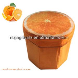 Hot Sale! Kiwi Fruit Design Round Foldable Multi Use Non-Woven Decorative Storage Box / Stool