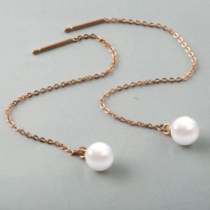 Stainless Steel Jewelry Fashion Women Pearl Long Drop Earrings pictures & photos
