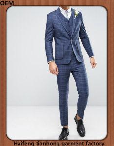 Men 3 Piece Check Wedding Grooms Suit