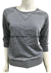 MID Sleeve Plain Terry Pullover Shirtshirt for Women with Burn out pictures & photos