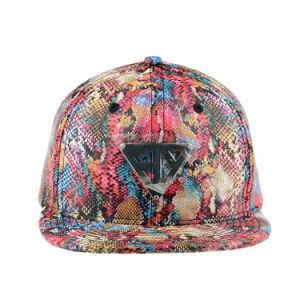 Sun Protection Hats Custom Cap Floral 6 Panel PU Snapback Cap pictures & photos
