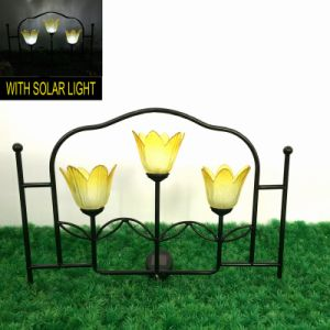 Decorative Metal Garden Decoration Solar Lighted Fence pictures & photos